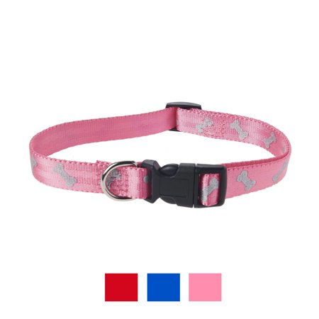 Vibrant Life Reflective Collar for Dogs, Pink Bones, Medium