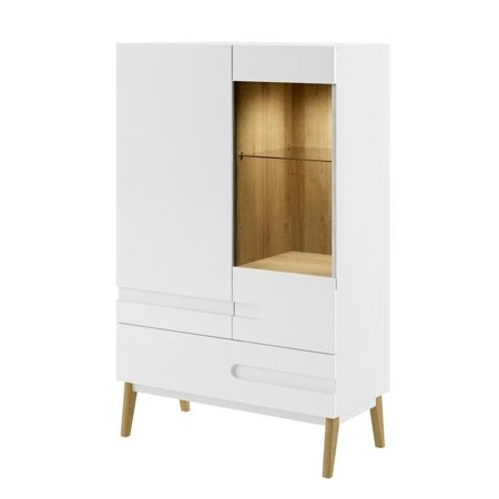 MODENA Display Cabinet - White Gloss     White Gloss fronts made of solid manufactured wood/ Riviera OAK    Soft closing doors and drawers    Solid beech wood legs    Modern looking handles    100% Made in Europe! Please note: Orders of 4 or more chairs will ship with a freight carrier, and are not traceable via UPS. Please allow 10 days before contacting Overstock.com regarding any freight carrier shipping concerns.This product will ship to you in multiple boxes.
