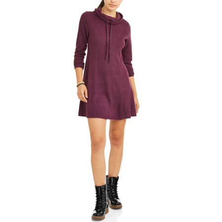 9527b6e866da4 Eye Candy - Juniors  Funnel Neck Fit and Flare Hacci Dress - Walmart.com