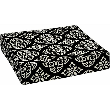 Better Homes & Gardens Black and White Medallion Outdoor Patio Deep Seat Bottom Cushion, 24