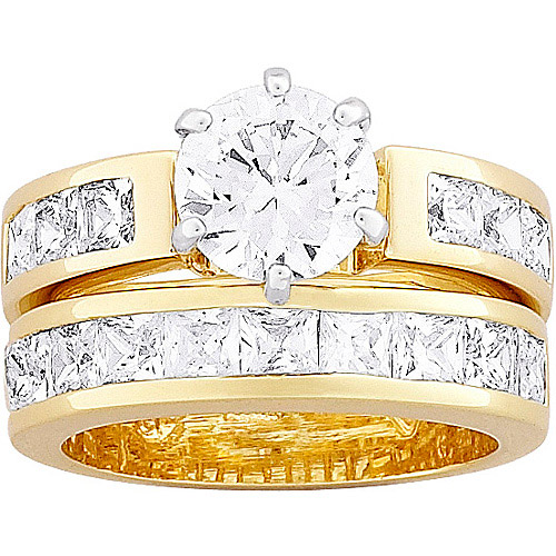 8 Carat T.G.W. CZ 14kt Gold-Plated Two-Tone Bridal Set