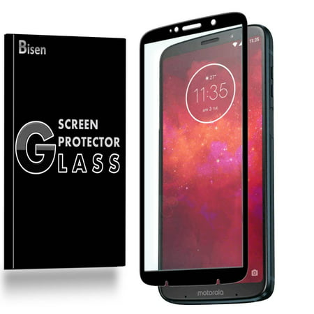 Motorola Moto Z3 (For Verizon) [BISEN] Tempered Glass [Full Coverage] Screen Protector, Edge-To-Edge Protect, Anti-Scratch, Anti-Shock, Shatterproof, Bubble
