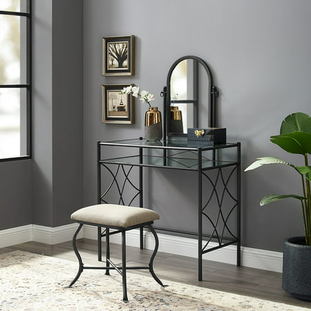 Aria Vanity (Mainstays Lattice Metal and Glass Vanity with Shelf and Upholstered Stool, Black Finish)