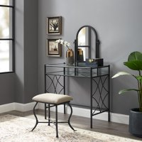 Mainstays Lattice Metal and Glass Vanity with Shelf and Upholstered Stool, Black Finish