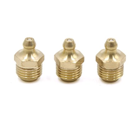"3pcs 1/4"" Thread Brass Straight Grease Nipple Fitting for Motorcycle Car - image 1 of 2"