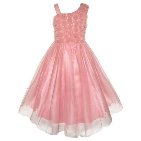 Girls Dress One Shoulder Rose Flower Dancing Ball Gown - Flower Girl Balls