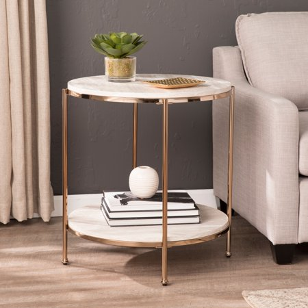 Solstone Round Faux Stone End Table, Glam, Champagne, Faux Travertine