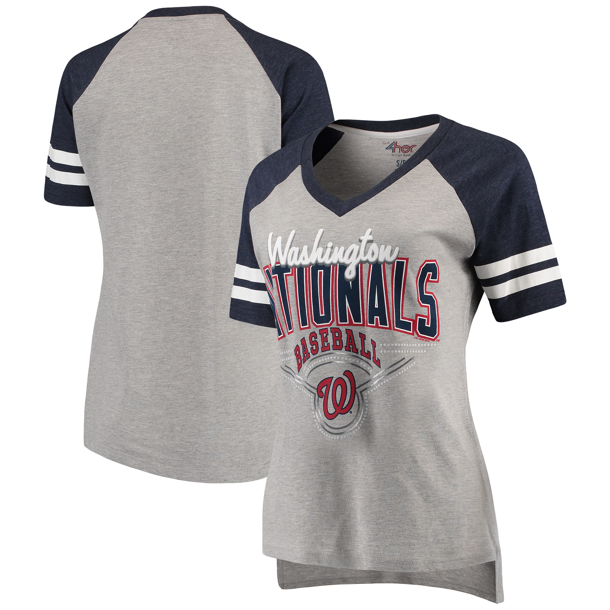 Washington Nationals G-III 4Her by Carl Banks Women's Goal Line V-Neck T-Shirt - Heathered Gray/Navy