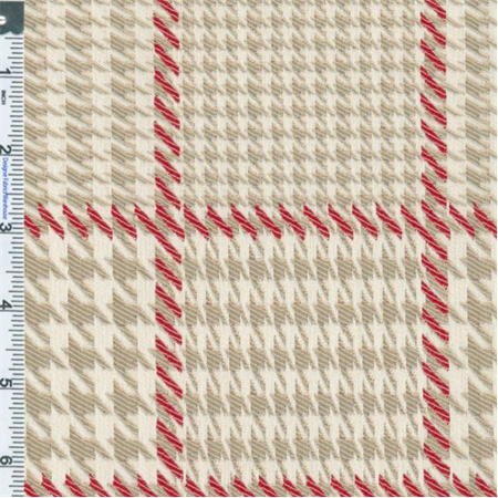 Neutral Red Houndstooth Plaid Drapery Fabric By The Yard