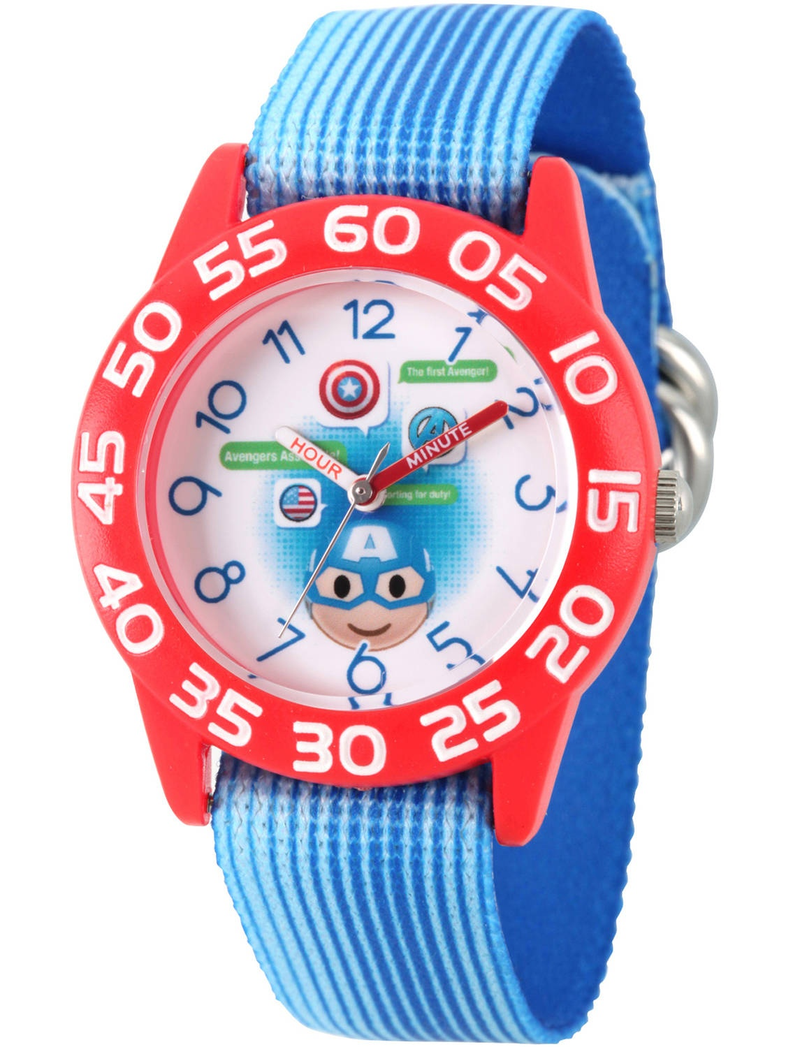 Emoji Kids' Captain America Red Plastic Time Teacher Watch, Blue Stripe Nylon Strap