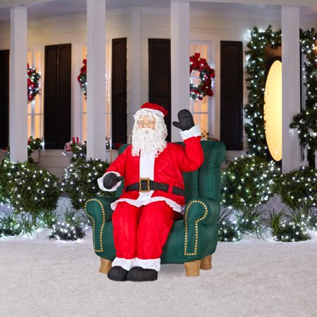 Animated Airblown Inflatable Santa In Chair Walmart Com