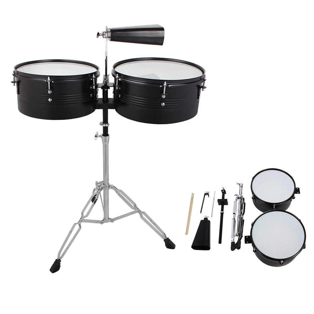 "GHP Black Metal Latin Percussion 13"" & 14"" Timbales Drum Set w Cowbell Stand & 2 Sticks"