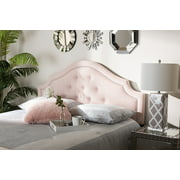 Baxton Studio Cora Modern and Contemporary Light Pink Velvet Fabric Upholstered King Size Headboard