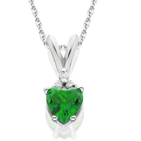Vvs1 Emerald (Harry Chad HC10912 3.30 CT 14K Gold Prong Set Green Emerald & Diamonds Pendant Necklace Green-G - AAA & VVS1)