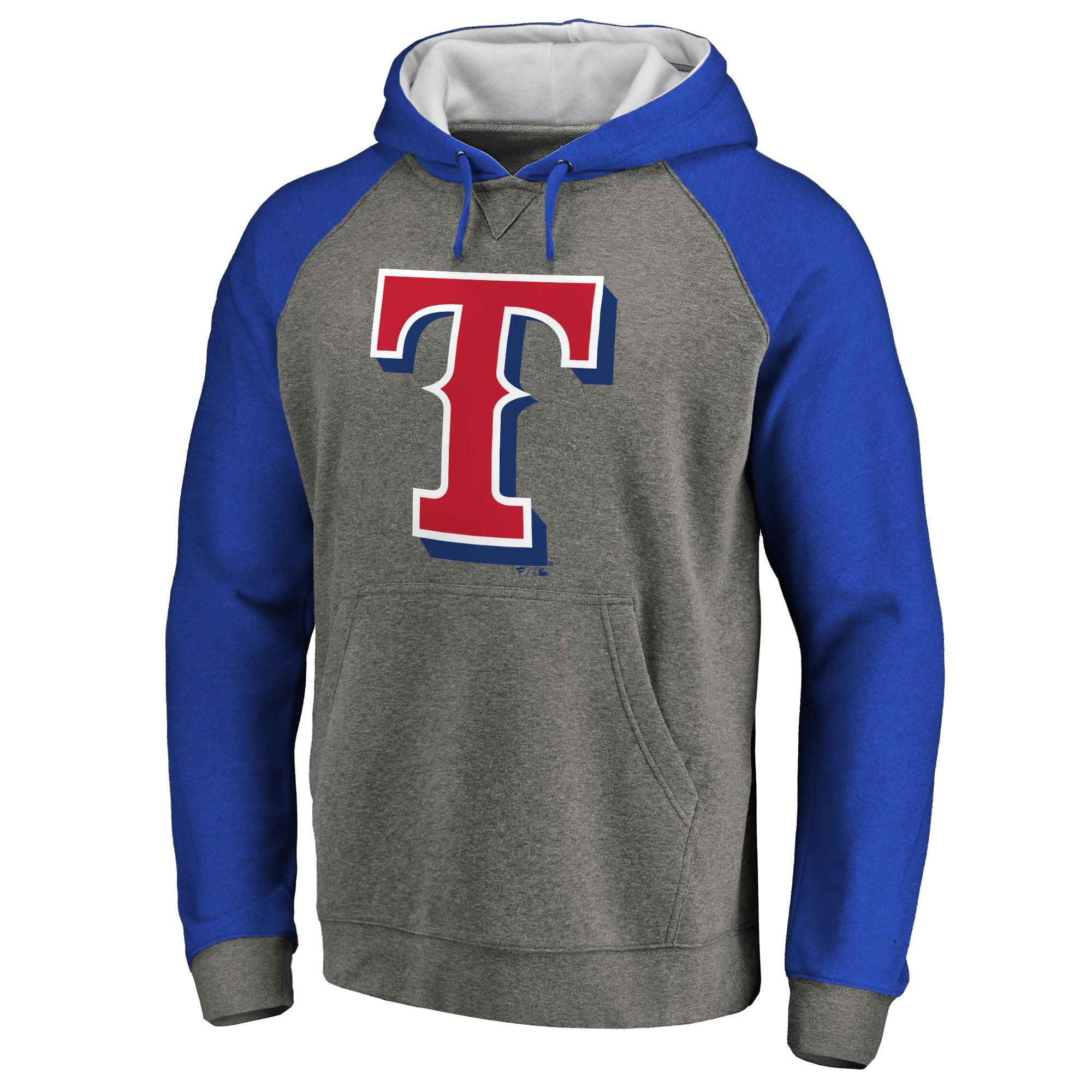 Texas Rangers Primary Logo Raglan Sleeve Tri-Blend Pullover Hoodie - Ash