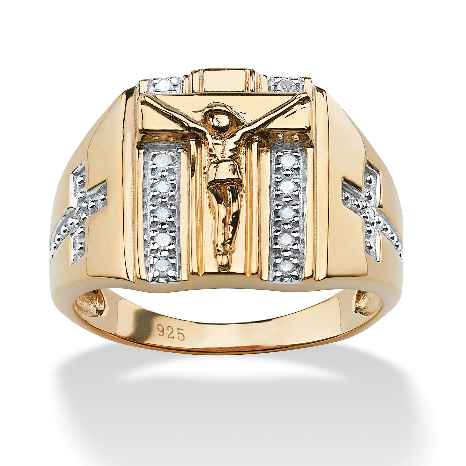Men's 1/10 TCW Round Diamond Crucifix and Cross Ring in 18k Gold over Sterling Silver Sizes 9-13