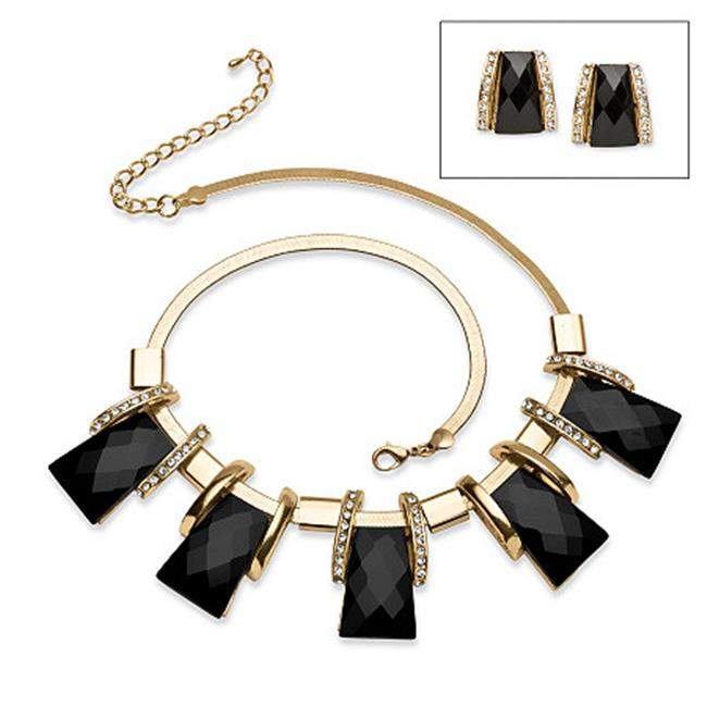 PalmBeach Jewelry 53496 Black Crystal Vintage Style Jewerly Set in Yellow Gold Tone