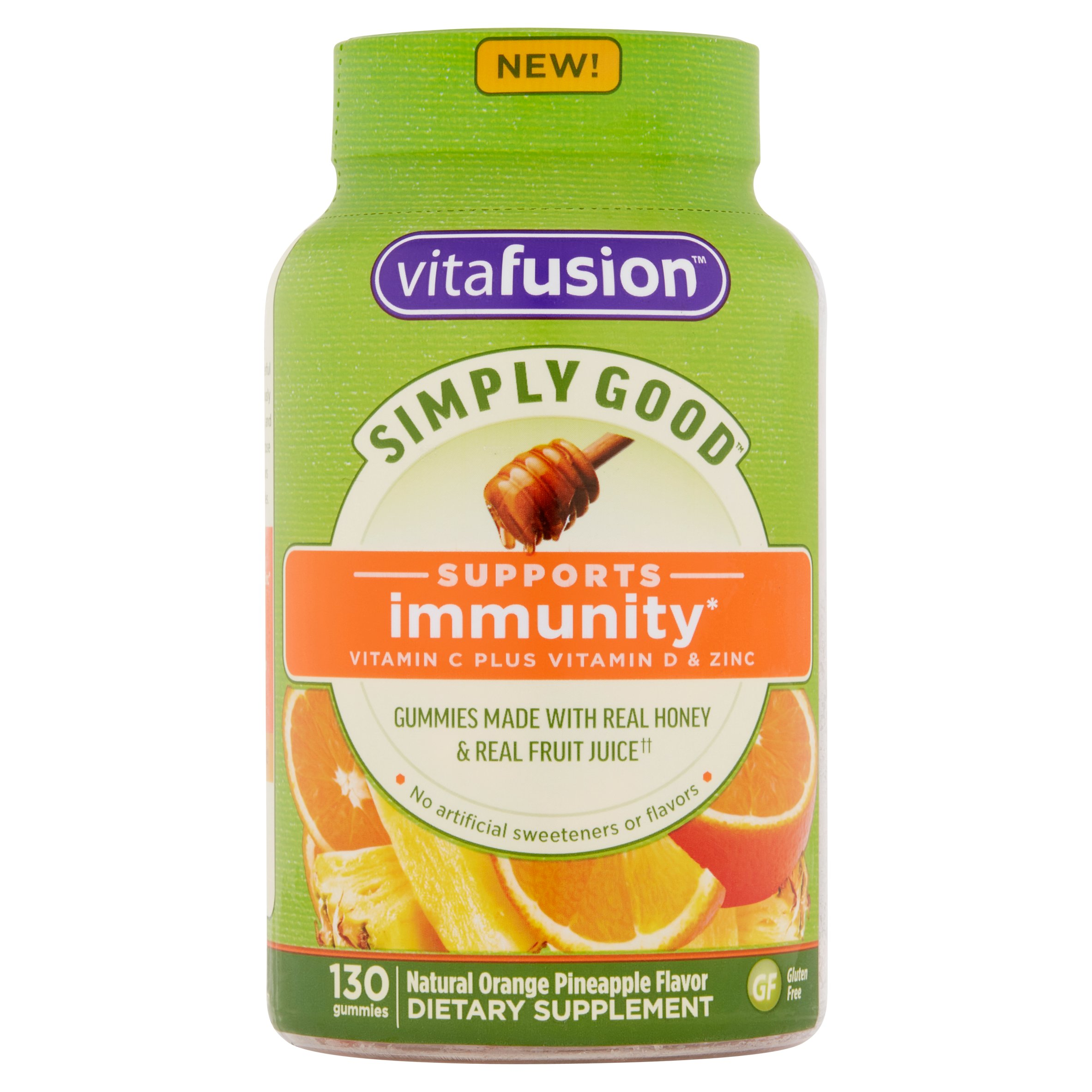 Vitafusion Simply Good Natural Orange Pineapple Flavor Gummies,130 count