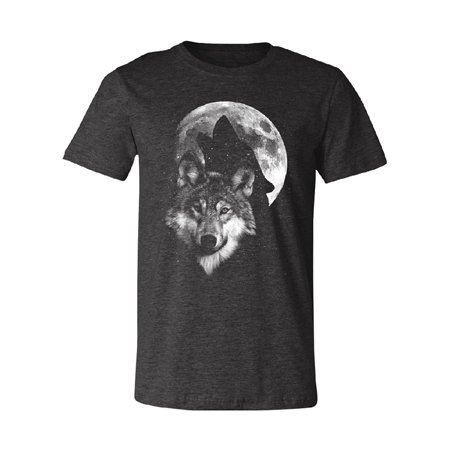 Hawling Wolf Silhouette on the Moon Men's T-shirt Wolf Full Moon Tee ()