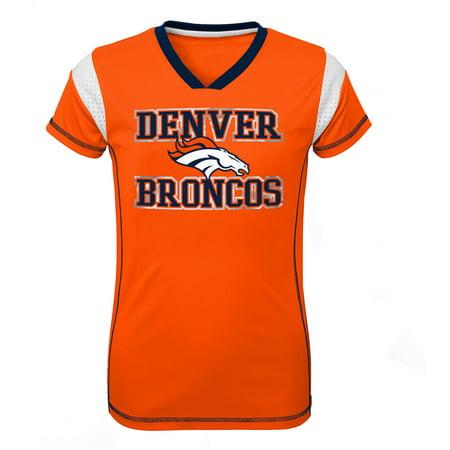 Girls Youth Orange Denver Broncos Team V-Neck Jersey Denver Broncos Youth Short