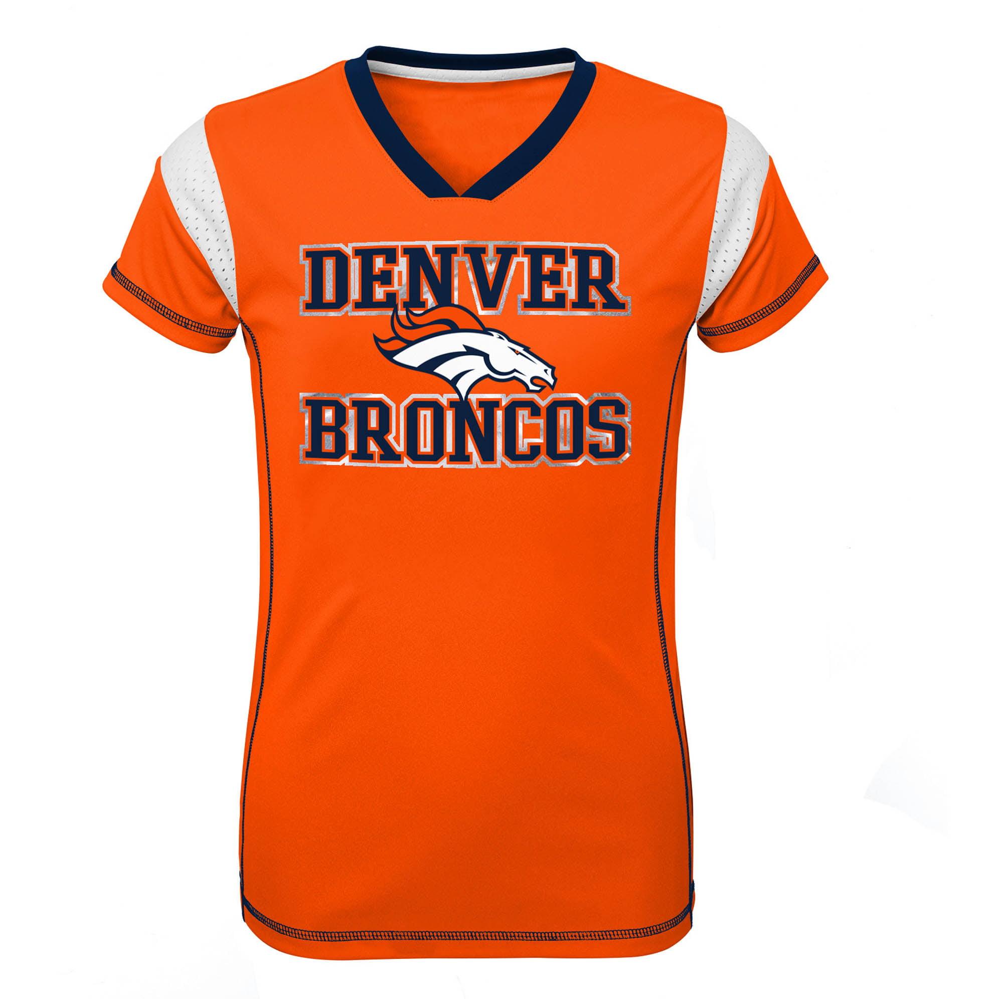 Girls Youth Orange Denver Broncos Team V-Neck Jersey