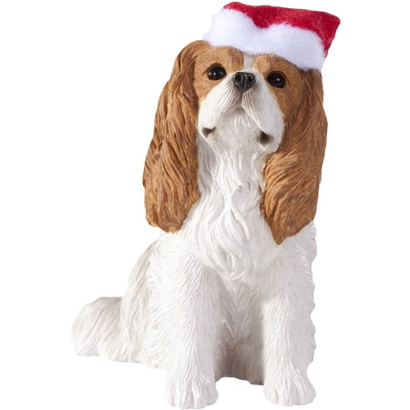 - Sandicast Sitting Cavalier King Charles with Santa's Hat Christmas Dog Ornament