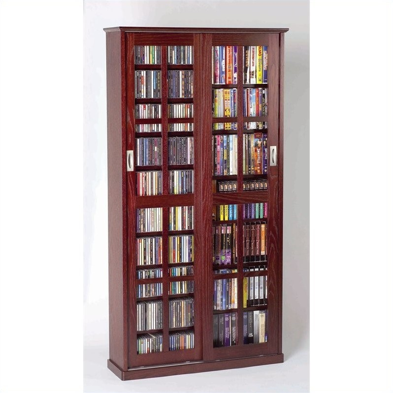 "Leslie Dame 62"" Sliding Door Inlaid Glass Media Cabinet in Dark Cherry"