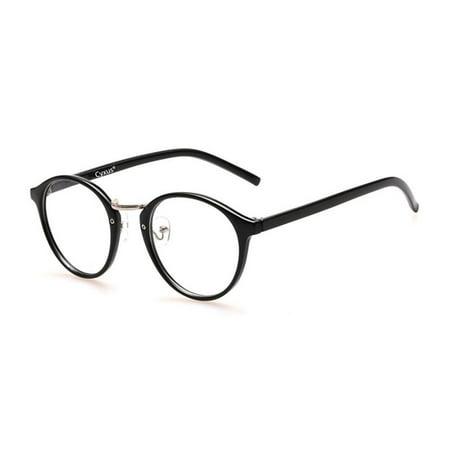 Cyxus Retro Round Blue Light Blocking Computer Glasses for Anti Eyestrain UV400, Black Frame Unisex(Men/Women) (Brown Round Glasses)