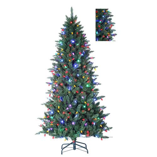 7.5' Columbus Pine 8-Function Artificial Christmas Tree w/ Remote - Multi C7 LED