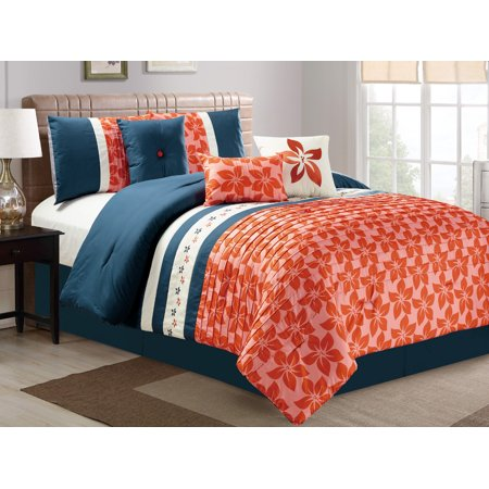 7-Pc Orchid Tree Flower Pleated Embroidery Comforter Set Navy Blue Ivory Orange Queen