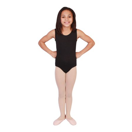 Girls Black Solid Color Full Front Lining Tank Dancewear Leotard](Full Body Leotard)