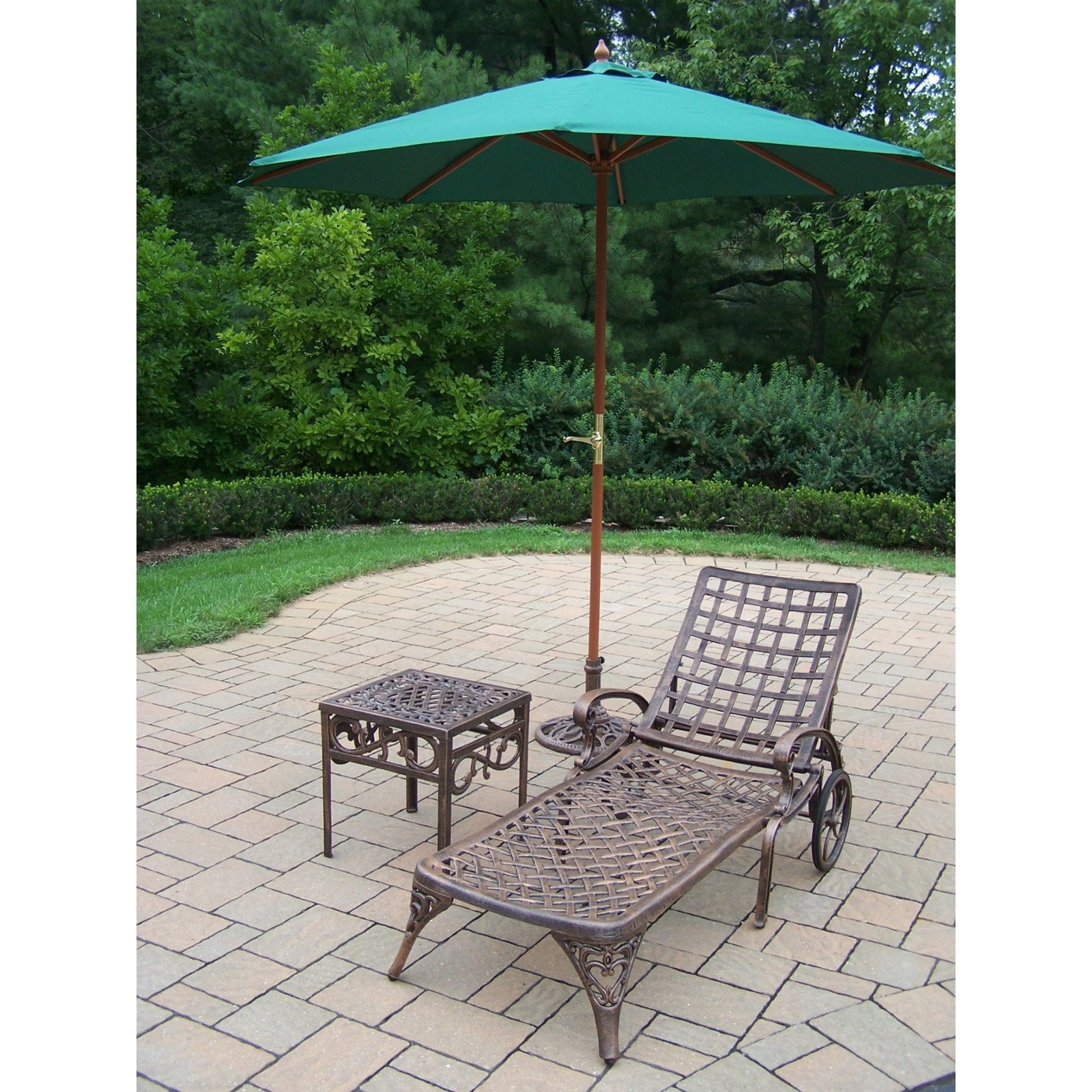 Oakland Living Elite Cast Aluminum Chaise Lounge Set with Umbrella and Stand
