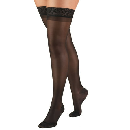Truform Women's Stockings, Thigh High, Sheer: 15-20 mmHg, Black, Medium