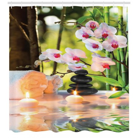 Spa Shower Curtain, Massage Spa Theme with Candles Orchids and Stones in Garden Japanese Oriental, Fabric Bathroom Set with Hooks, Pale Green Fuchsia, by (Oriental Garden Stone)