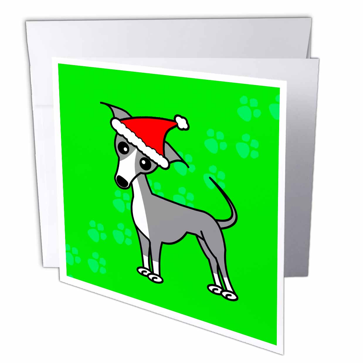 3dRose Cute Grey Italian Greyhound Green with Santa Hat, Greeting Cards, 6 x 6 inches, set of 12