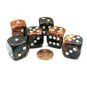Chessex Gemini 20mm Big D6 Dice, 6 Pieces - Black-Copper with White Pips #DG2027