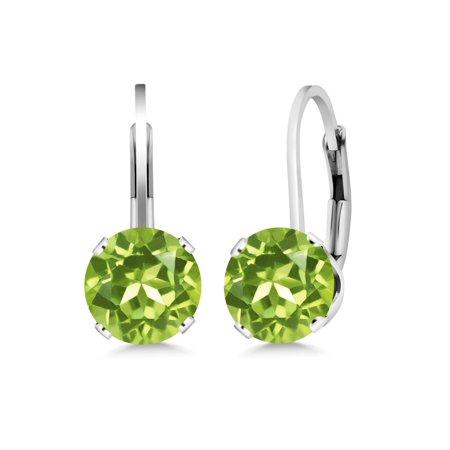 2.70 Ct Round Green Peridot Sterling Silver 4-prong Dangle Earrings 7mm (7mm August Birthstone Earrings)