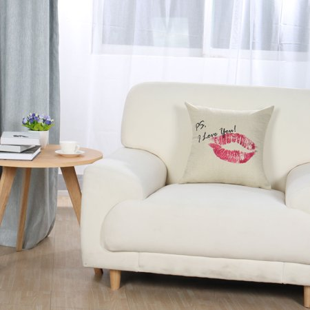 Piccocasa Linen Red Lip Pattern Cushion Cover 45 x 45cm - image 4 of 7
