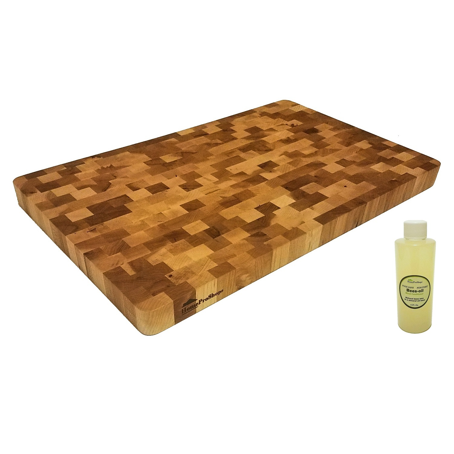 "HomeProShops 1-1/4""x12""x19"" Reversible Solid Natural Hard Maple END-GRAIN Wood Butcher Block Cutting Board with ""FREE"" Mineral Oil included"