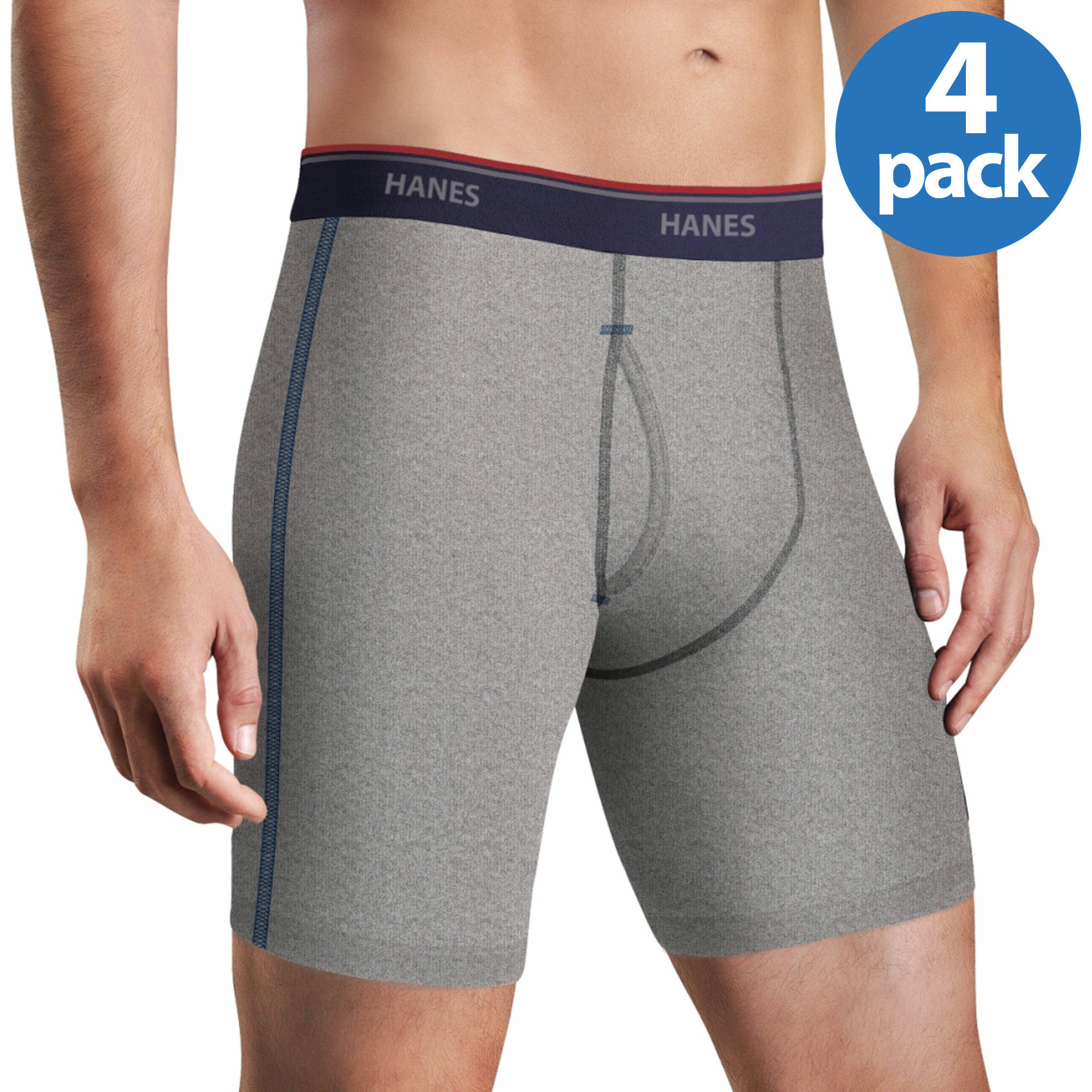 Hanes Big Men's FreshIQ Comfort Flex Waistband Long Leg Boxer Brief 4-Pack, size 2XL by Hanes Red Label Underwear