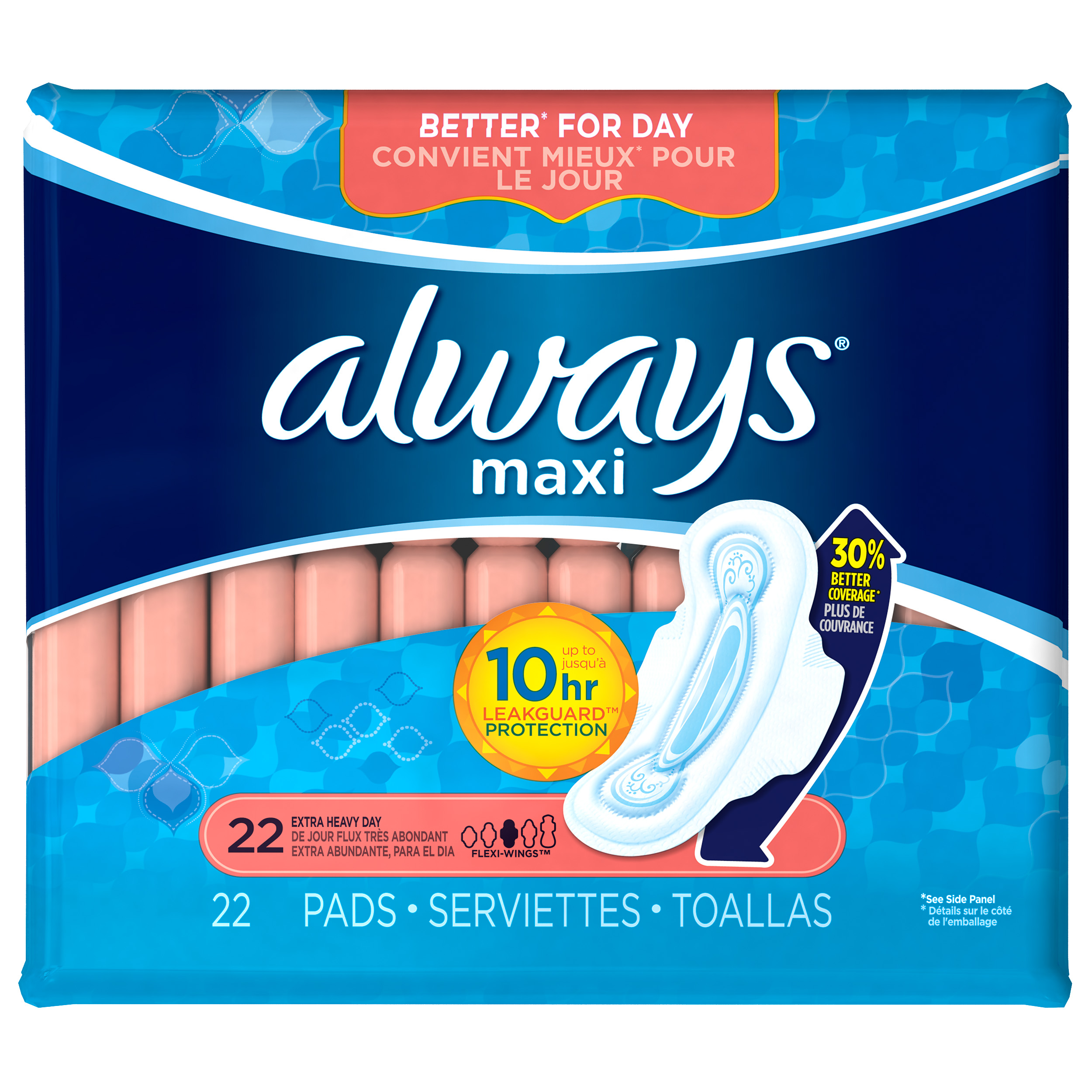 Always Maxi Size 3 Extra Long Super Pads with Wings, Unscented, 24 Count