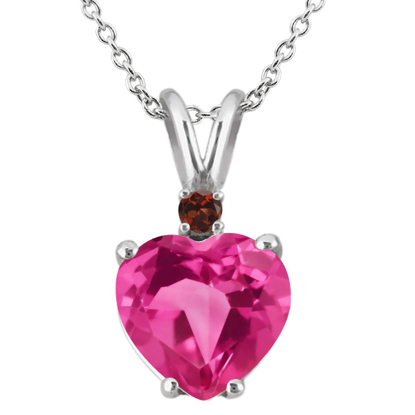 2.47 Ct Heart Shape Pink Created Sapphire Red Garnet 18K White Gold Pendant by