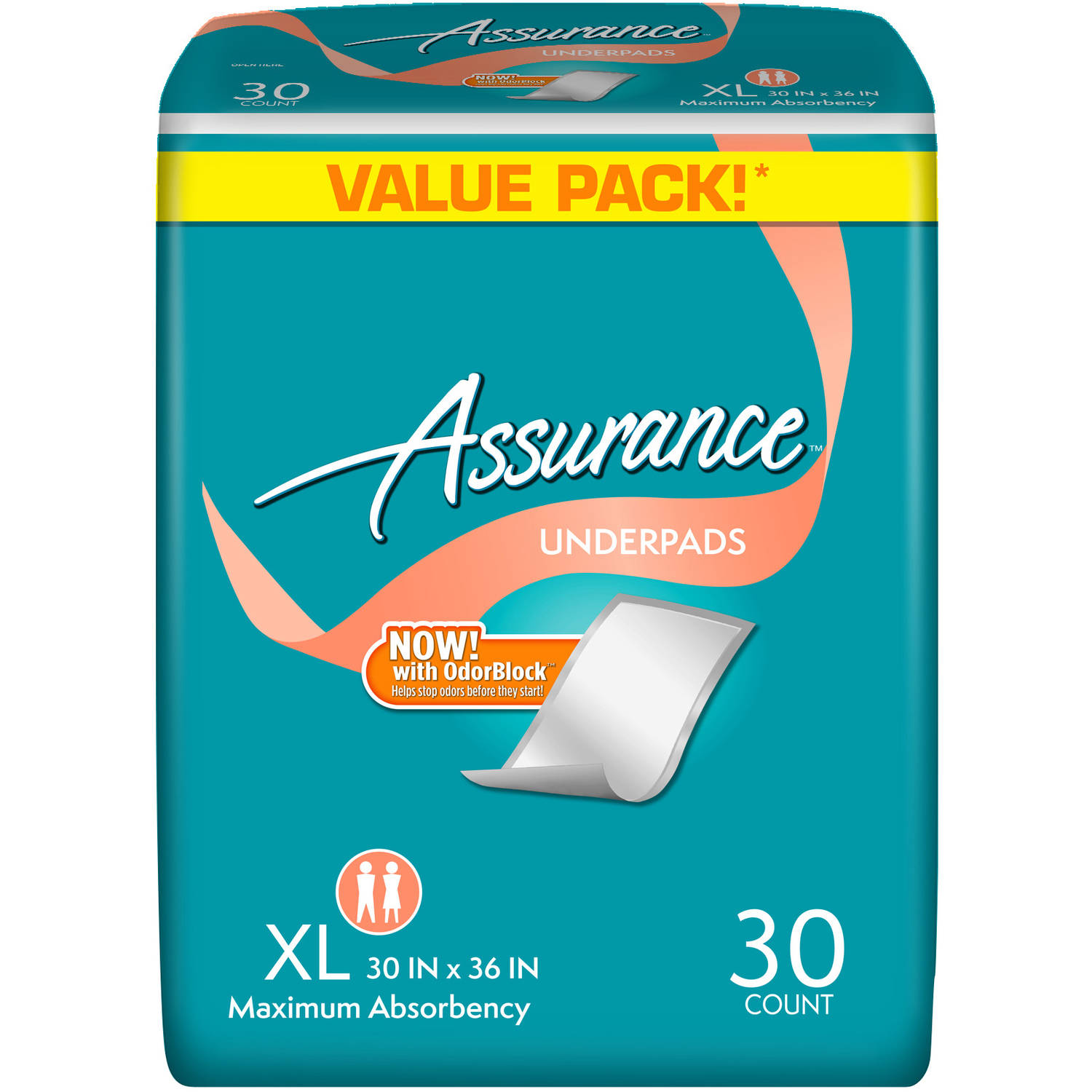 Assurance Maximum Absorbency Underpads, Extra Large, 30 count