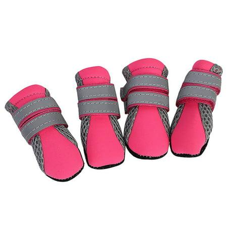 4PCS Pet Dogs Anti-slip Mesh Boots Shoes Puppy Reflective Snow Rain Booties (Dog Booties Hardwood Floors)