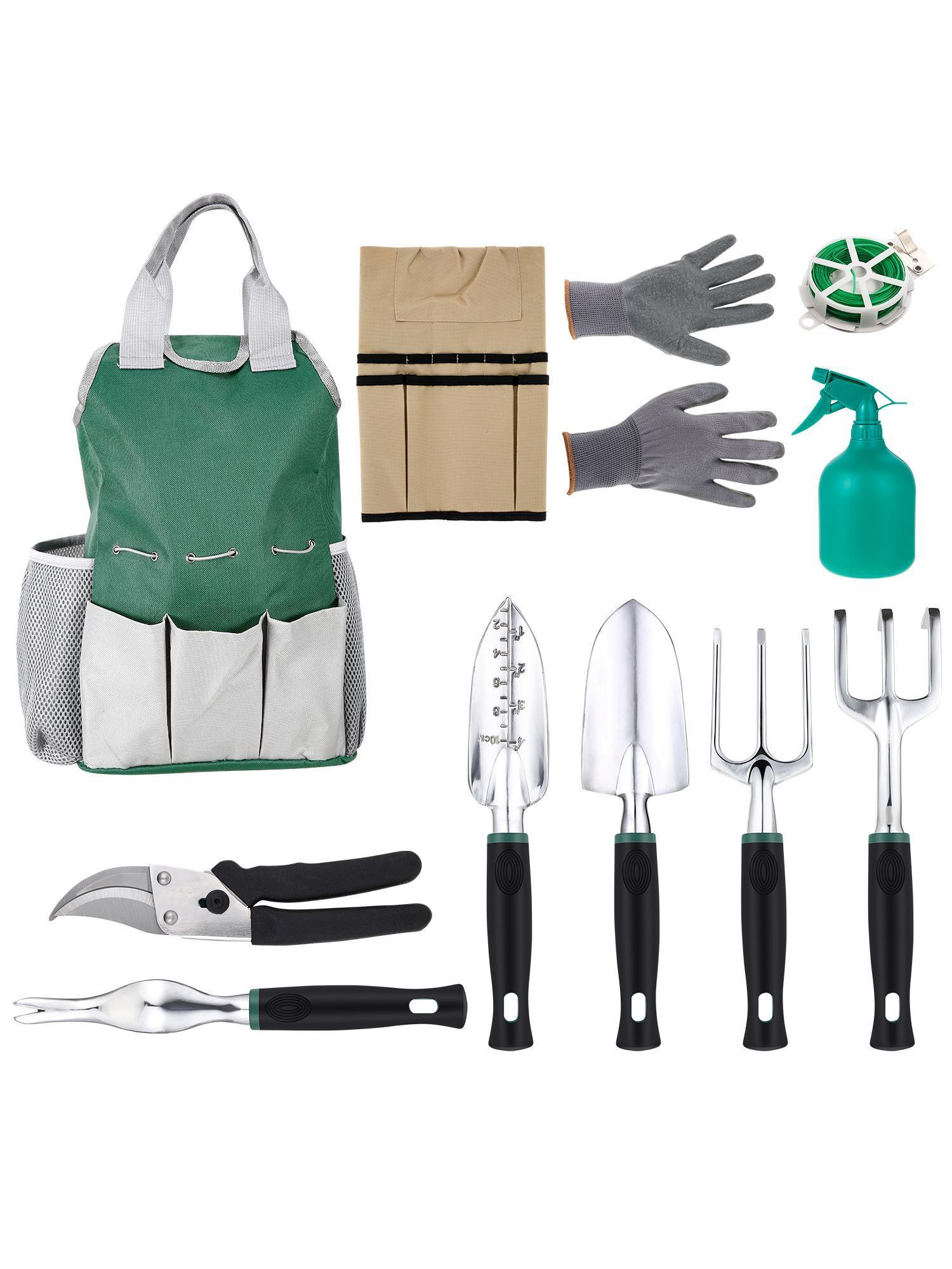 11pcs Portable Gardening Tool Set Vegetable Herb Garden Hand Tools With  Apron (total 14 Pockets