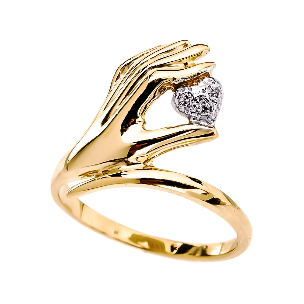 elegant 14k yellow gold hand holding heart diamond ladies ring