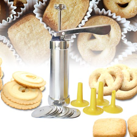 20 Pcs Cookie Extruder Press Pump , Outgeek Cookie Extruder Press Stainless Steel Machine Biscuit Maker Cake Making Decorating Set