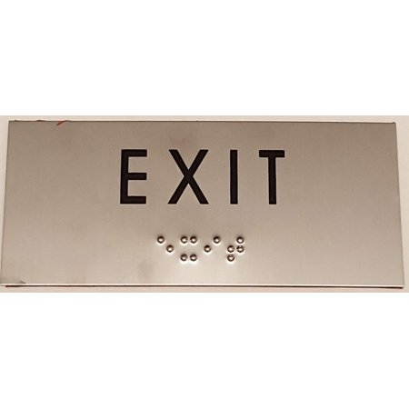 EXIT SIGN - BRAILLE-STAINLESS STEEL ( Heavy Duty-Commercial Use ) Steel Exit Sign