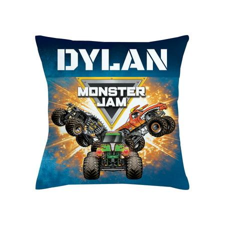 Personalized Monster Jam Trucks Throw Pillow - Logo Blue - Monster Pillow