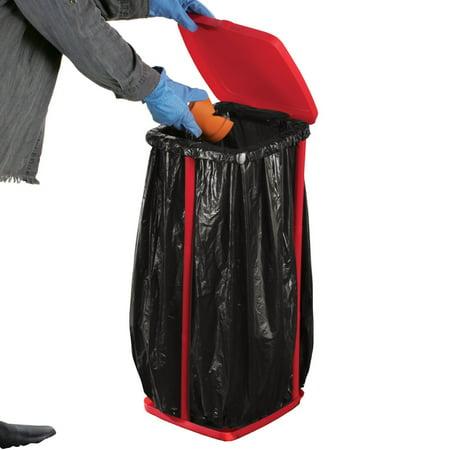Portable Trash Bag Holder With Lid, Red